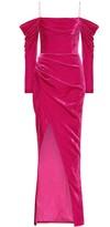 Rasario Silk-blend velvet corset gown