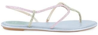 Rene Caovilla Crystal-Embellished Satin Slingback Sandals