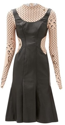 Marine Serre Moon-print Upcycled-leather Dress - Black Tan