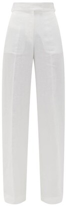 Another Tomorrow - High-rise Organic-linen Wide-leg Trousers - Womens - White