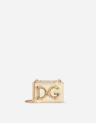 Dolce & Gabbana Girls Micro Bag In Floral Lame Brocade