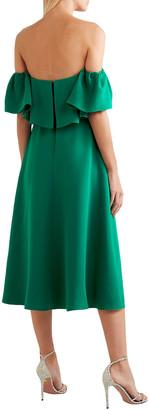 Lela Rose Off-the-shoulder Ruffled Silk-crepe Midi Dress