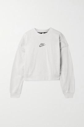 Nike Sportswear Oversized Cropped Printed Cotton-blend Jersey Sweatshirt - Light gray