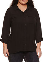 Boutique + + 3/4 Sleeve Button-Front Shirt-Plus