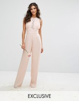TFNC WEDDING Pleated Wide Leg Jumpsuit with Lace Insert