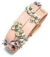 Tory Burch Opalescent Leather Double-Wrap Bracelet