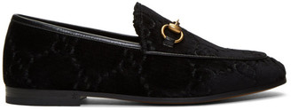 Gucci Black Velvet Jordaan Loafers