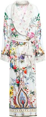 Camilla Crystal-embellished Printed Silk-jacquard Kimono