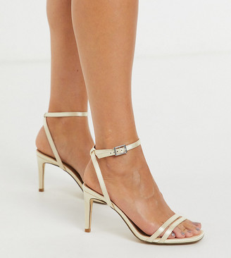 Truffle Collection wide fit bridal square toe strappy heeled sandals in ivory