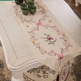 Queenie Wong Queenie® - 1 Pc Floral Embroidered Cotton Linen Table Runner 16 X 79 Inch (40 X 200 Cm)