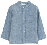 Babe & Tess Sale - Linen Mandarin Collar Shirt with Pocket