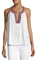 Soft Joie Yvanna Embroidered Sleeveless Cotton Top, White