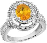 PIERA 14K White Gold Natural Citrine Ring Oval 8x6 mm Double Halo Diamond, size 7