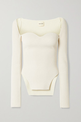 KHAITE Maddy Ribbed-knit Sweater - Ivory