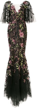 Marchesa Sheer Floral Gown