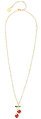Noir Cherry 14-karat Gold-plated Crystal Necklace
