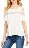 Takara Smocked Yoke Cold Shoulder Top