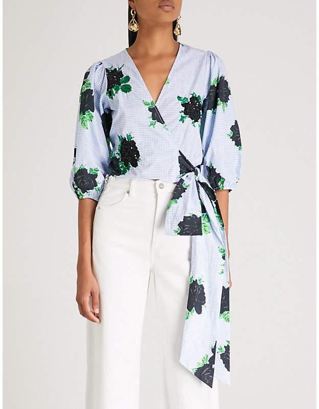 Ganni Pine cotton wrap top