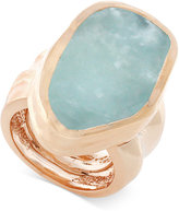 Vince Camuto Rose Gold-Tone Blue Stone Chunky Statement Ring