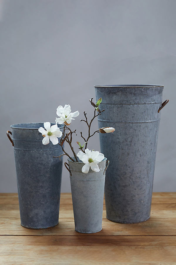 Aged Zinc Flower Vase By Terrain in Assorted Size M