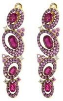 Judith Ripka Caserta Oval Multi Drop Earring, Rubellite and Pink Sapphires