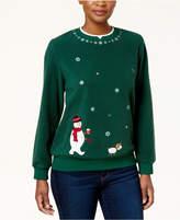 Alfred Dunner Petite Layered-Look Snowman Anti-Pill Sweatshirt