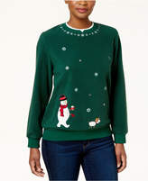 Alfred Dunner Petite Snowman Layered-Look Knit Top
