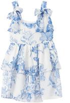 Oscar de la Renta Floral Toile Tiered Silk Dress