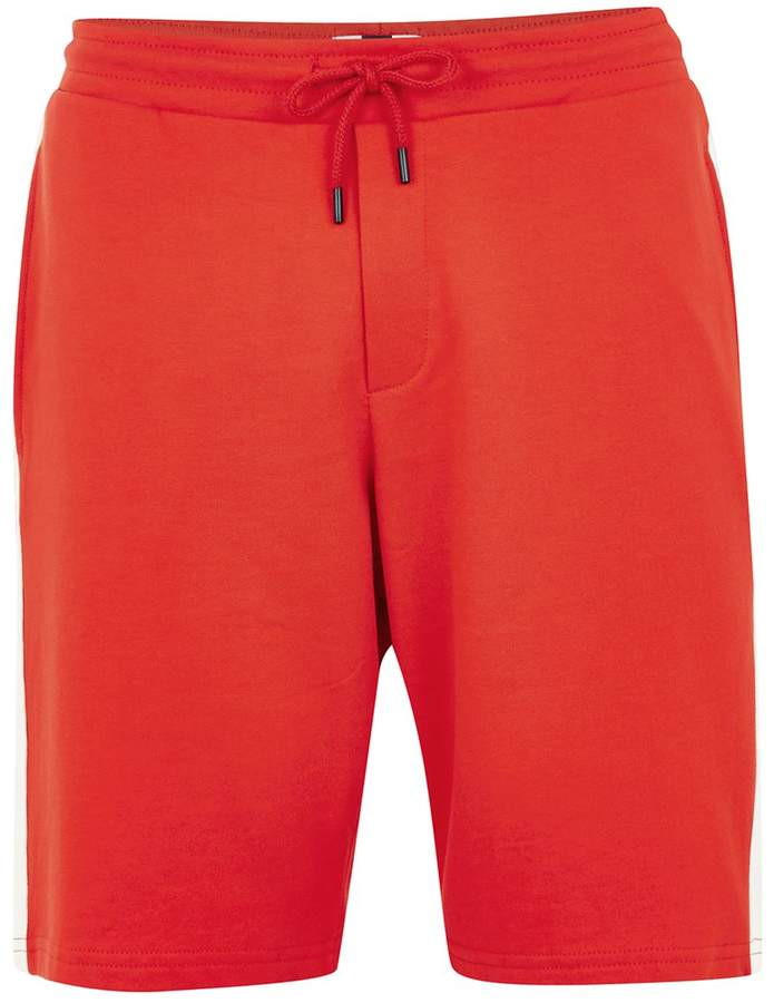 Topman Red And White Side Stripe Jersey Shorts