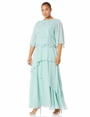 Le Bos Women's Plus Size Scallop Hem BROIDERED Tiered Dress