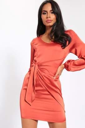I SAW IT FIRST Orange Knot Front Dress