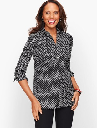 Talbots Perfect Shirt - Popover Tunic - Floral Geo