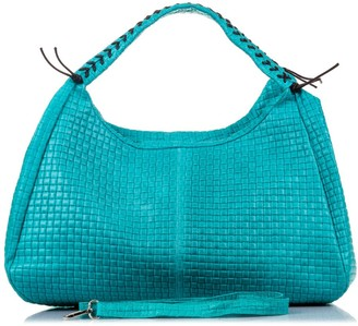 FIRENZE ARTEGIANI. Women Genuine Leather Handbag. Top Handle Shoulder Engraved Leather Bag.Made in Italy. Genuine Italian LEATHER42x27x26 cm. Color: Turquoise