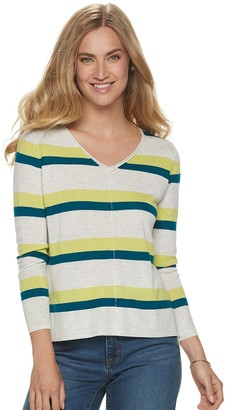 Apt. 9 Petite Ribbed V-Neck Sweater