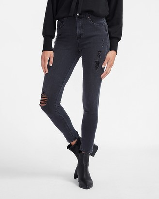 Express High Waisted 4-Way Hyper Stretch Black Ripped Skinny Jeans