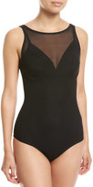 Jets Aspire High-Neck Mesh One-Piece Swimsuit, Black (Available in DD-E Cups)