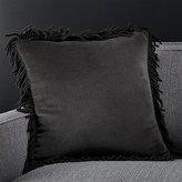 """Crate & Barrel Brenner Grey 18"""" Fringe Velvet Pillow"""