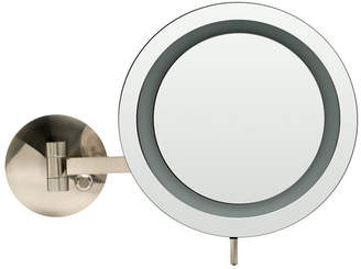 Alfi brand Brushed Nickel Wall Mount Round 5x Magnifying Cosmetic Mirror with Light Bedding