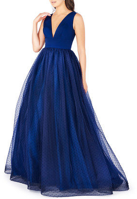 Mac Duggal Deep V-Neck Empire-Waist Sleeveless Gown