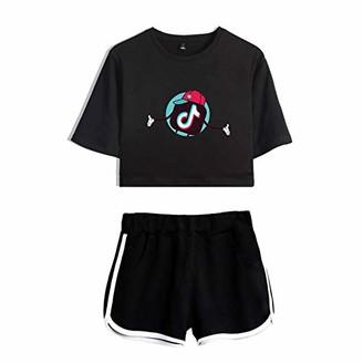 JDSWAN Women Girls Crop Top & Shorts 2 Pieces Set TIK TOK Short Sleeve T-Shirt Top and Shorts Set Running Tracksuit Yoga Clothes Summer Casual Sportswear Pajamas