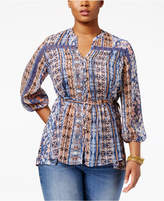 American Rag Trendy Plus Size Printed Blouse, Only at Macy's