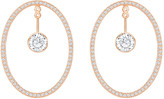 Swarovski Hoop Fever Oval Pierced Earrings, White, Rose gold plating