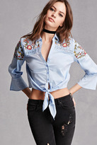 Forever 21 FOREVER 21+ Floral Tie-Front Top