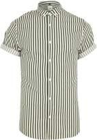 River Island Mens Green stripe slim fit short sleeve shirt