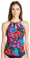 Caribbean Joe Women's Tropical Punch High Neck Tankini with Cut Outs