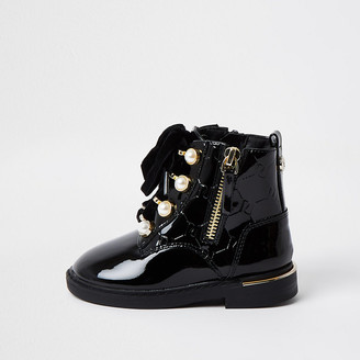 River Island Mini girls Black pearl lace up boots