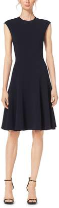 Michael Kors Fit-and-Flare Wool-Crepe Dress