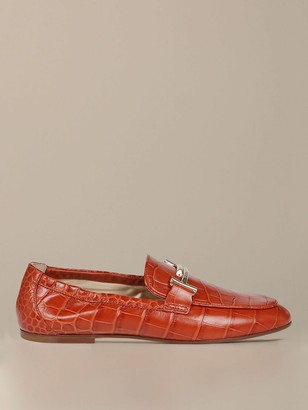 Tod's Moccasin In Croc Print Leather With Double T