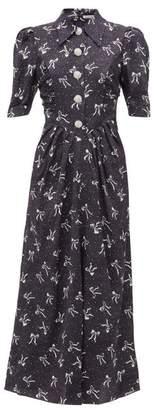 Alessandra Rich Polka Dot And Bow Print Silk Dress - Womens - Navy Multi