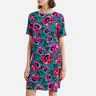 La Redoute Collections Shift Mini Dress with Short Sleeves in Floral Print